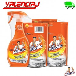 LIMPIADOR DESENGRASANTE MR MUSCULO COCINA 500 Ml x 3 MAS 1 PISTOLA SPRY 500mL