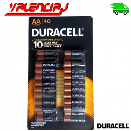 PILAS AA DURACELL COPPERTOP ALCALINAS PACK 40 UNIDADES