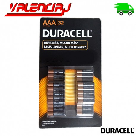 PILAS AAA DURACELL COPPERTOP ALCALINAS PACK 32 UNIDADES