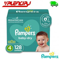 PAÑALES DESECHABLES PAMPERS BABE DRY TALLA 4 128 UND