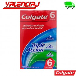 CREMA DENTAL COLGATE TRIPLE ACCION 6 UNIDADES X 150ML