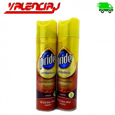 LUSTRADOR DE MUEBLES PRIDE EMBELLECE SPRY 400ML X 2 UND. MULTI SUPERFICIES