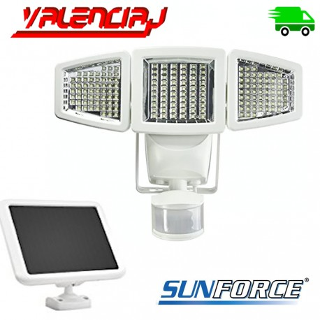 LAMPARA SOLAR 180 LED DE TRIPLE CABEZA CON PANEL SOLAR SUNFORCE 82185 CON SENSOR DE MOVIMIENTO 1500 LUMENS