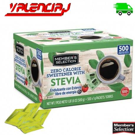 ENDULZANTE MEMBERS STEVIA SIN CALORIAS 500 SOBRES x 1 G