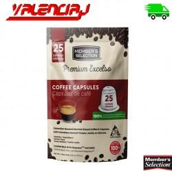 CAPSULAS PODS PARA MAQUINA DE CAFE MEMBERS SELECTION PREMIUM EXCELSO NESPRESSO x 25 UND