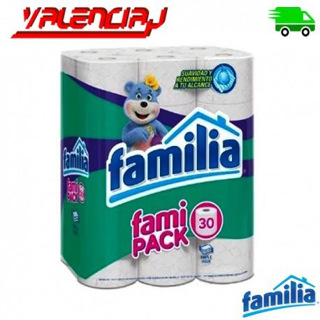 PAPEL HIGIENICO FAMILIA ACOLCHADO TRIPLEHOJA FAMIPACK POR 30 ROLLOS