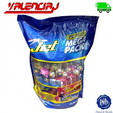 CHOCOLATES JET MEGA PACK SURTIDOS 75 UNIDADES 700 GRAMOS