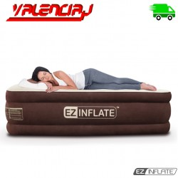 COLCHON ELECTRICO INFLABLE EZ INFLATE QUEEN CAFE Y CREMA